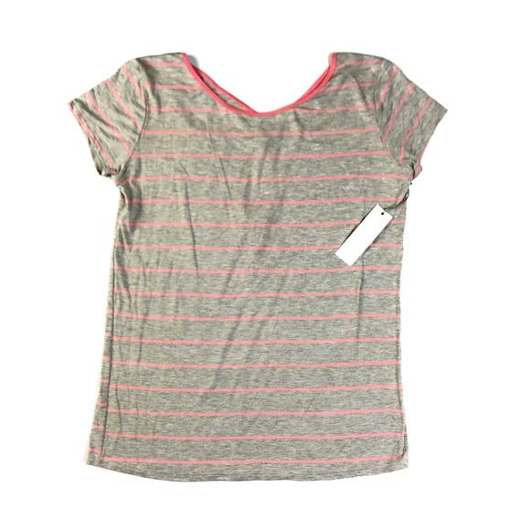 Medium NEW Stitch Fix Loveappella Dahalia Cross Gray and Pink Stripe Knit Top